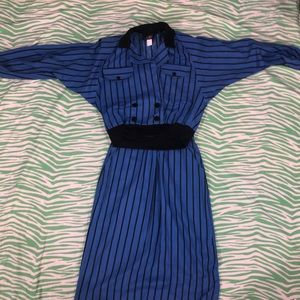 Vintage Skirt Set Blue and Black Striped ladies 8
